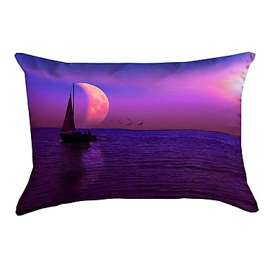 Latitude Run Jada Magenta Moon and Sailboat Outdoor Lumbar Pillow