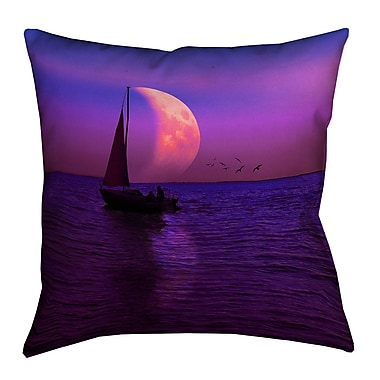 Latitude Run Jada Magenta Moon and Sailboat Outdoor Throw Pillow; 18'' x 18''