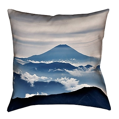 Latitude Run Hashimoto A View of Mt. Fuji Linen Throw Pillow; 14'' x 14''