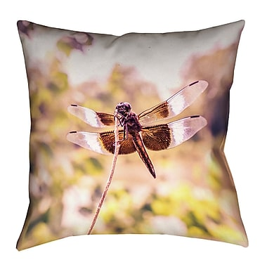 Latitude Run Hargis Dragonfly Square Cotton Pillow Cover; 26'' x 26''