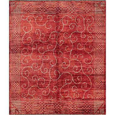 Red Barrel Studio Lauterbach Hand-Knotted Wool Red Area Rug