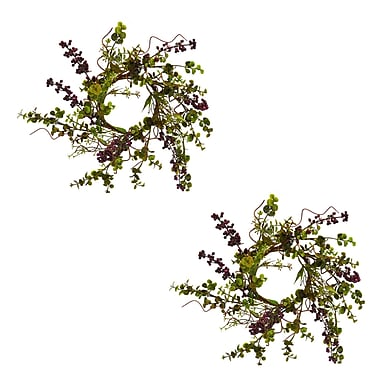 August Grove Poke Berry 12'' Poly Silk Wreath (Set of 2)