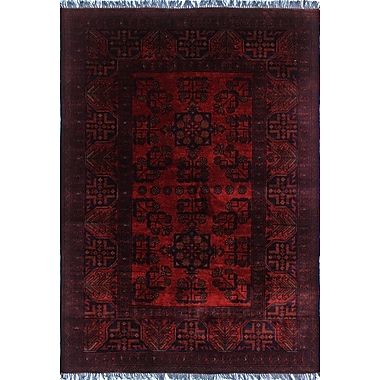 World Menagerie Alban Hand-Knotted Wool Red Area Rug