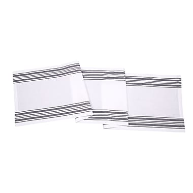 August Grove Gail Stripes Cotton Table Runner (Set of 3); Gray