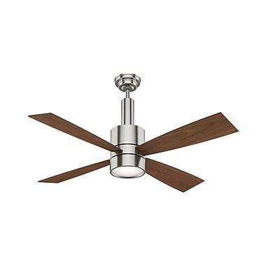 Casablanca Fan 54'' Bullet 4 Blade Fan; Brushed Nickel with Walnut Blades