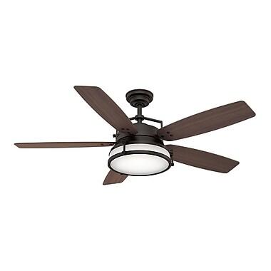 Casablanca Fan 56'' Caneel Bay 5 Blade Outdoor Fan; Smoked Walnut with Maiden Bronze Blades