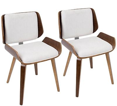 Corrigan Studio Arron Mid-Century Solid Wood Upholstered Dining Chair (Set of 2); Light Grey