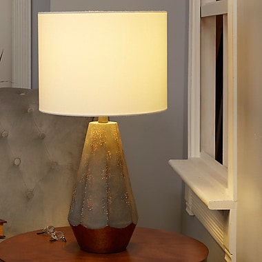Bungalow Rose Rampal Rustic Prism 25'' Table Lamp w/ Accent