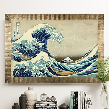 'The Great Wave' by Katsushika Hokusai Rectangle Wood Framed Oil Painting Print on Wrapped Canvas