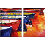 Breakwater Bay Hand Painted 'By the Sea' Print Multi-Piece Image on Canvas