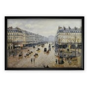 'Avenue-de Opera Rain' by Camille Pissarro Rectangle Framed Oil Painting Print on Wrapped Canvas