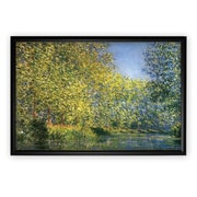'Bend in the River' by Claude Monet Rectangle Framed Oil Painting Print on Wrapped Canvas
