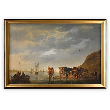 Darby Home Co 'Le Aux Fleurs Near V theuil' Wood Framed Oil Painting Print on Wrapped Canvas