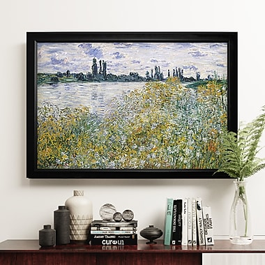 Darby Home Co 'Le Aux Fleurs Near V theuil' Rectangle Framed Oil Painting Print on Wrapped Canvas