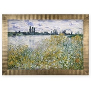 'Le Aux Fleurs Near V theuil' Rectangle Wood Framed Oil Painting Print on Wrapped Canvas