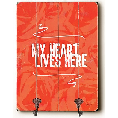 Ebern Designs Camryn My Heart Lives Here Planked Wood Wall Mounted Coat Rack
