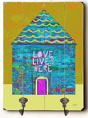 Ebern Designs Cantrell Love Lives Here Planked Wood Wall Mounted Coat Rack