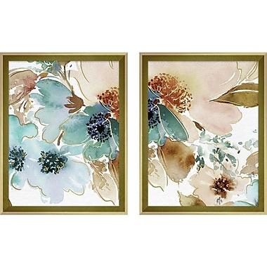 Ebern Designs 'Watercolor Peonies' 2 Piece Framed Graphic Art Print Multi-Piece Image