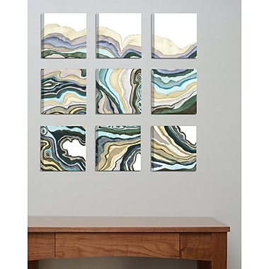 Everly Quinn 'Geode Abstract Waves' 9 Piece Canvas Wall Art Set