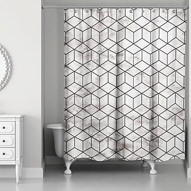 Everly Quinn Bellamira Marble Geometric Cube Shower Curtain