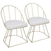 Everly Quinn Lystra Upholstered Dining Chair (Set of 2); White