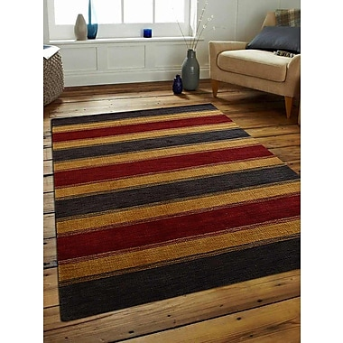 Get My Rugs Rugsotic Striped Hand-Knotted Wool Charcoal/Gold Area Rug; 9' x 12'