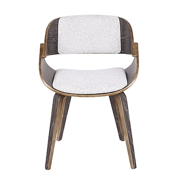 George Oliver Simsbury Mid-Century Solid Wood Upholstered Dining Chair; White