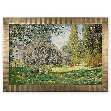 Darby Home Co 'Parc Monceau, Paris' Rectangle Wood Framed Oil Painting Print on Wrapped Canvas