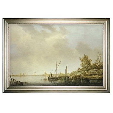 Darby Home Co 'River Scene Windmills' Framed Oil Painting Print on Wrapped Canvas