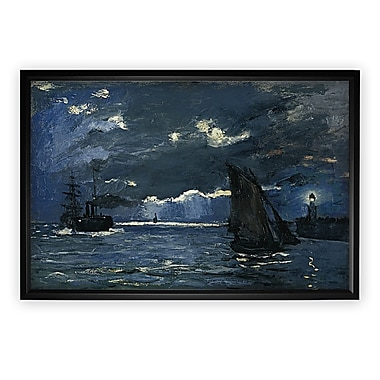 Longshore Tides 'Seascape, Night Effect' Rectangle Framed Oil Painting Print on Wrapped Canvas