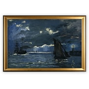 Longshore Tides 'Seascape, Night Effect' Wood Framed Oil Painting Print on Wrapped Canvas