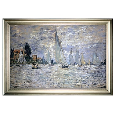 Longshore Tides 'The Boats Regatta at Argenteuil' Framed Oil Painting Print on Wrapped Canvas