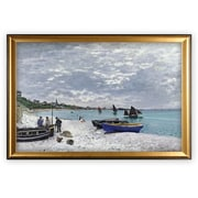 Longshore Tides 'The Beach' by Claude Monet Wood Framed Oil Painting Print on Wrapped Canvas