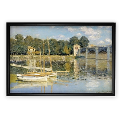 Longshore Tides 'The Bridge' by Claude Monet Rectangle Framed Oil Painting Print on Wrapped Canvas