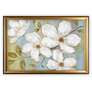 Latitude Run 'White Blossoms' Wood Framed Oil Painting Print on Wrapped Canvas