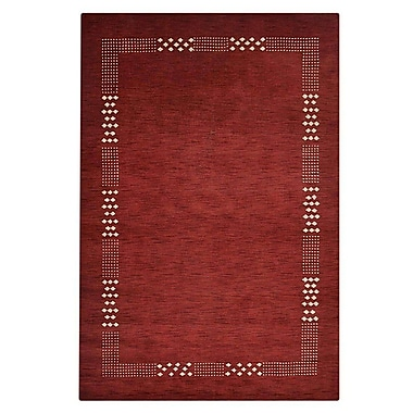 Latitude Run Ceniceros Solid Hand-Knotted Wool Red Area Rug; 8' x 10'