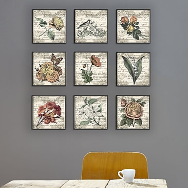 One Allium Way 'French Botanical Illustrations' 9 Piece Canvas Wall Art Set