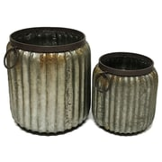 17 Stories 2 Piece Ribbed Metal Bucket Set