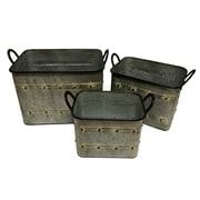17 Stories Double Handle Metal Wire 3 Piece Bucket Set