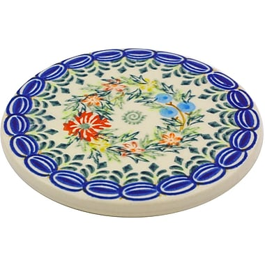 Polmedia Cornflower and Butterflies Polish Pottery Coaster