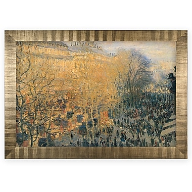 'Carnaval Boulevard' by Claude Monet Wood Framed Oil Painting Print on Wrapped Canvas