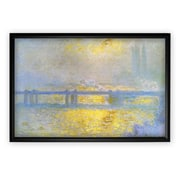 'Charing Cross Bridge' by Claude Monet Rectangle Framed Oil Painting Print on Wrapped Canvas