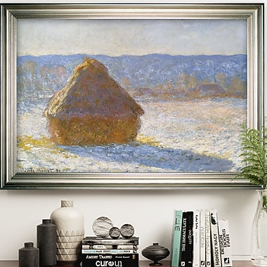 Red Barrel Studio 'Haystack Morning' by Claude Monet Framed Oil Painting Print on Wrapped Canvas