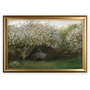 'Lilacs Grey Weather' by Claude Monet Wood Framed Oil Painting Print on Wrapped Canvas