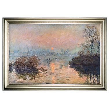 Red Barrel Studio 'Sunset on the Seine' by Claude Monet Framed Oil Painting Print on Wrapped Canvas