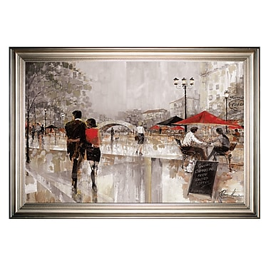 Red Barrel Studio 'Riverwalk Charm' Framed Oil Painting Print on Wrapped Canvas