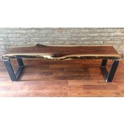 Union Rustic Monford Solid Walnut Wood Entryway Bench