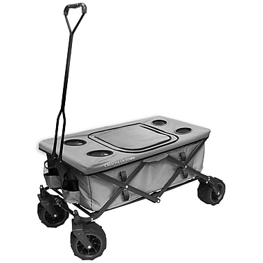 Creative Outdoor – Chariot pliable tout-terrain avec table et refroidisseur, gris (900257)