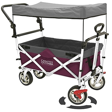 Creative Outdoor Push/Pull Folding Wagon and Canopy, Magenta/Gray (900551)
