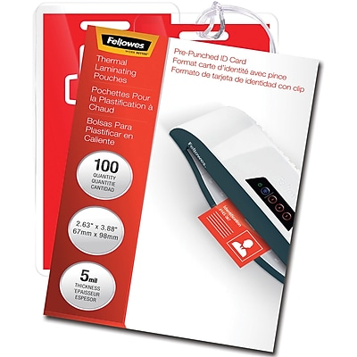 Fellowes Glossy Pouches, ID Tag punched, 5 mil, 100 pack (52016)